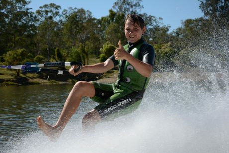 Liam Press, 15, is ready to compete in an event at Calliope River for the first time, two years after beginning barefoot waterskiing.