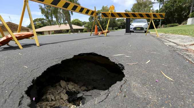 Sinkhole on the corner of Ash Dr and Paperbark ct at Banora Point. Photo: Nolan Verheij-Full / Tweed Daily News