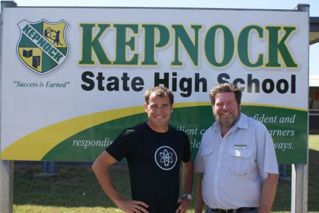 """""""Surfing Scientist"""" Ruben Meerman with his high school science teacher, Peter Forbes, on a recent visit."""