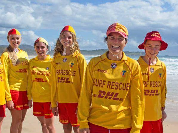 OCEAN LOVERS: Joanna Charles, Zoe Burgess, Lilli Smyth, Koby Nolan, Rachael Smyth, Darcy Ryan and Ollie Smyth from Coffs Harbour Surf Life Saving Club at Park Beach.