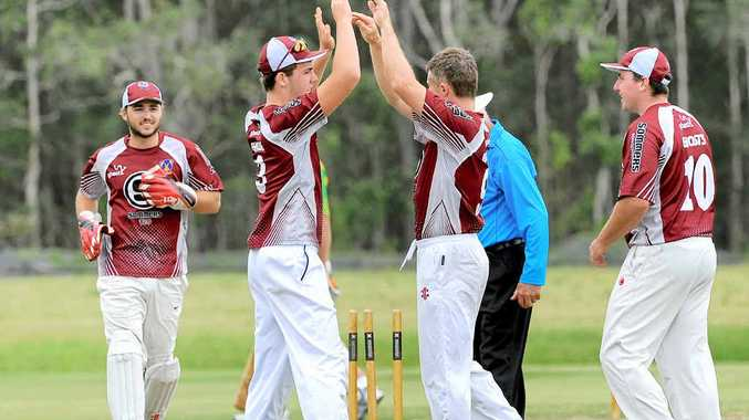 HIGH FIVES: Ghosts smile as a Stingrays wicket falls in last season's Sommers T20 Cup. Photo: Leigh Jensen