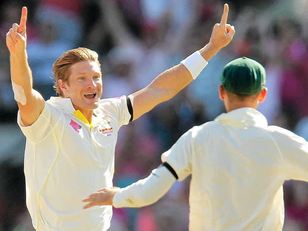 GOT HIM: Shane Watson celebrates after claiming the wicket of Suresh Raina.
