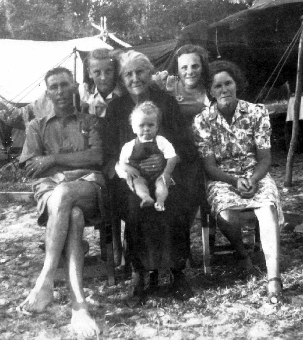 ABOUT 1948: Burgess family from Glasshouse Mountains camping at Maroochydore.