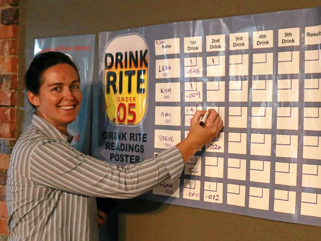 GOOD RESULT: Constable Amber Scott puts the blood alcohol readings on the board at a Drink Rite event.