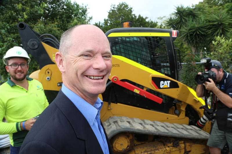 Queensland Premier Campbell Newman shown on the election trail in Brisbane, Sunday, Jan 11, 2015.