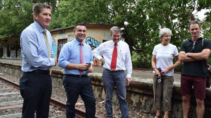 Rail Trail Inspection: Pictured at the abandoned Bangalow railway station are politicians Kris Beavis (NSW Nationals candidate for Ballina), Minister for Regional Tourism, John Barilaro and Member for Ballina Don Page with Northern Rivers Rail Trail supporters Marie Lawton and Steve Martin Photo Megan Kinninment / Northern Star