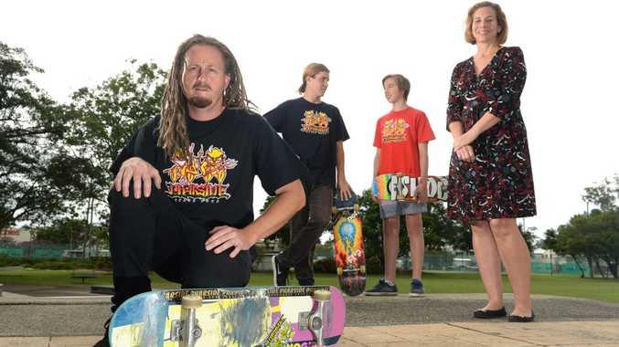 Tony Lawrence of Pharside skate shop, Rick Kelly, Matt Spiller and Sylvia Roylance at the Murwillumbah skate park. Photo: John Gass / Tweed Daily News