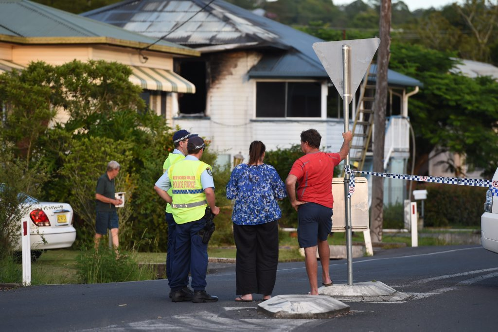 A house on the corner of Esmond and Wyrallah Roads was gutted by fire on Friday night in Lismore, January 10, 2015. Photo Marc Stapelberg / The Northern Star