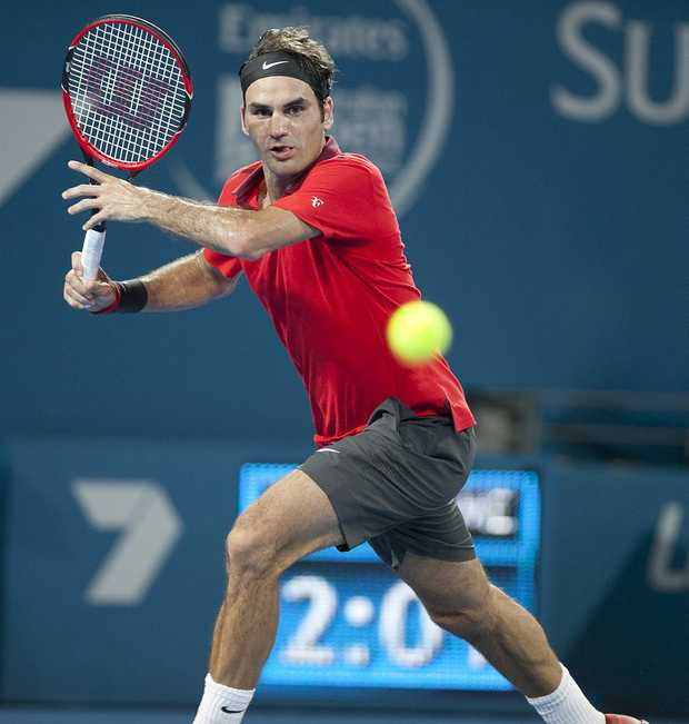 Image for sale: Brisbane International Tennis - Thursday, 8 January 2015. Roger Federer winning the match against John Millman. Pat Rafter Arena, Brisbane. Photo: Franca Tigani / The Queensland Times IPS080115BRIS10W.