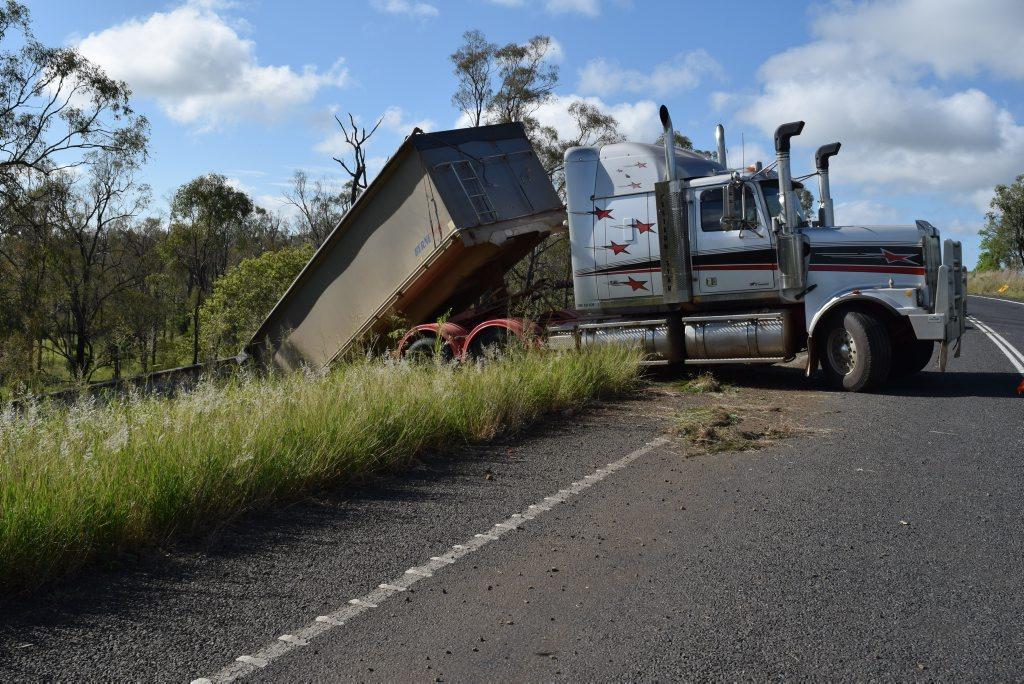 SIDEWAYS: Grain truck causes anguish for its driver at Bald Hills near Mundubbera.