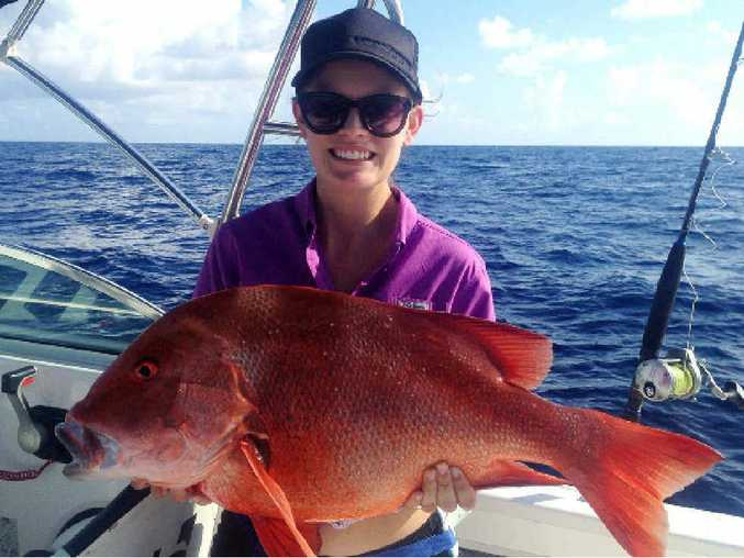 AWESOME: This red emperor, caught at the tip of Fraser Island, was first caught ten years ago.