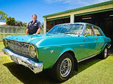 NICE RIDE: Ford fan Darren 'Dags' Hansford with his 1966 Fairmont XR.