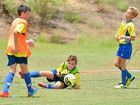 Baden Larkin is called into action during the entertaining under-12 encounter in Gladstone.