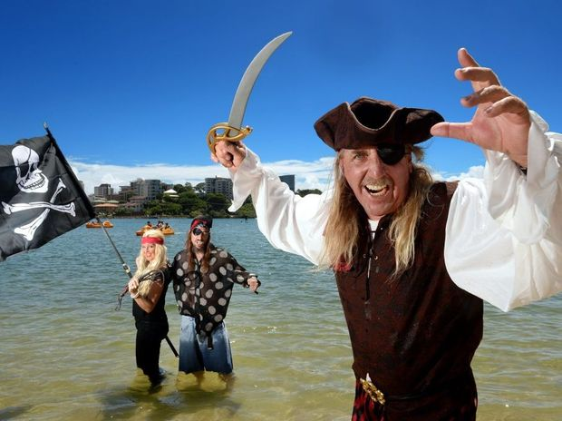 "GiGi Law, Tim Andrell and Trevor ""Big Trev"" Arbon are ready for the pirate day at Jack Evans boat harbour. Photo: John Gass / Tweed Daily News"