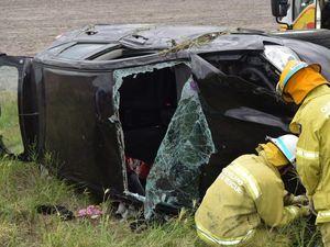 Car gets airborne in horror Warrego Hwy crash