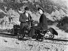 William Williams on a railway jigger, rabbit hunting in Otago in New Zealand c. 1900. Plans are underway to have similar rail handcars installed along the Casino to Murwillumbah rail trail. Photo National Library of New Zealand