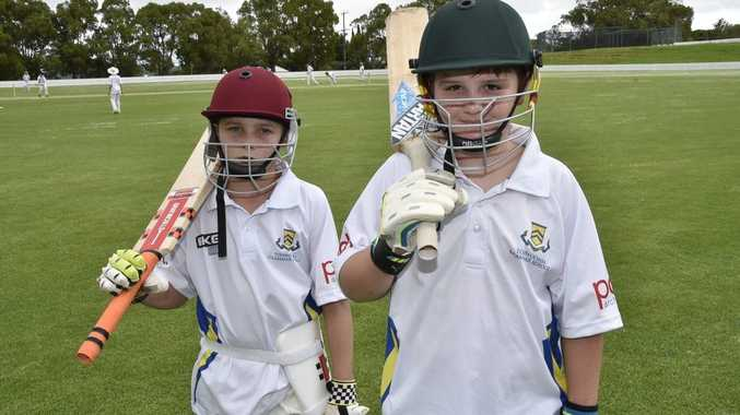 Young stars of the future Ki McLoughlin and Liam Bright at this week's junior cricket coaching camp at Toowoomba Grammar School.