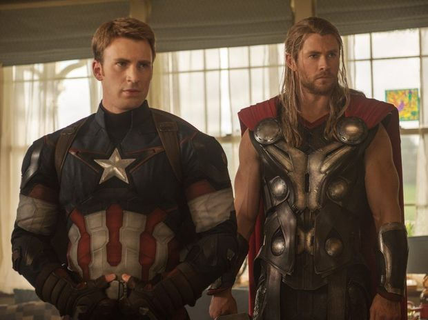 Chris Evans, left, and Chris Hemsworth in a scene from Avengers: Age of Ultron.