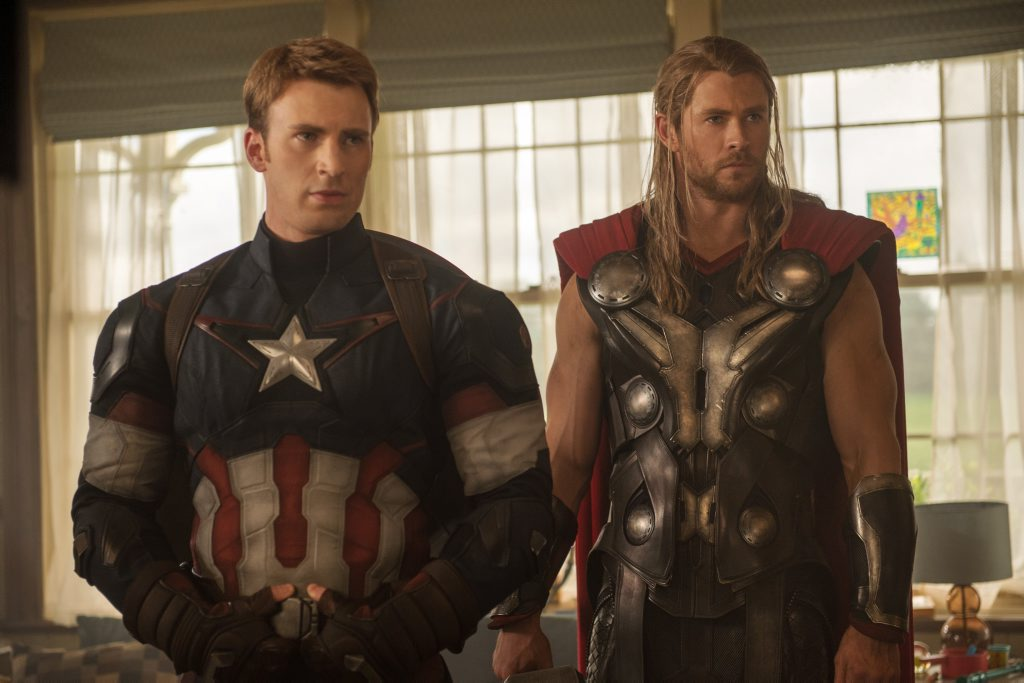 Chris Evans, left, and Chris Hemsworth in a scene from the movie Avengers: Age of Ultron.