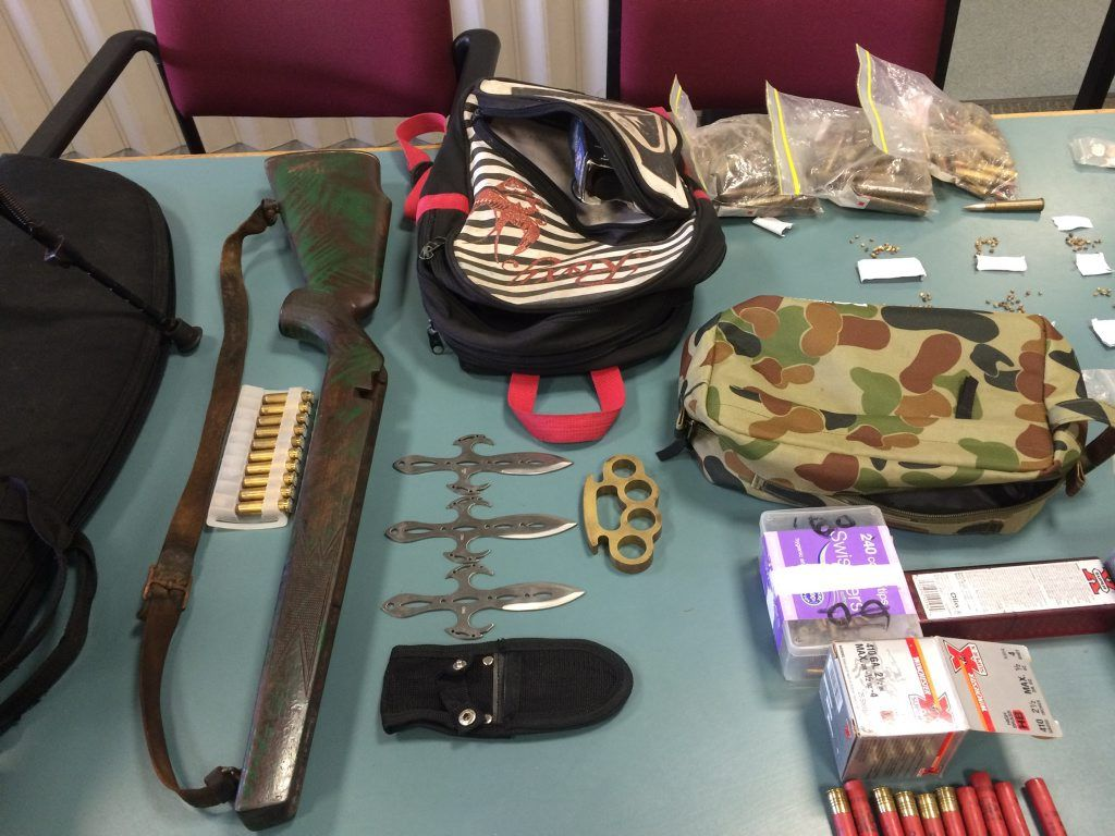 CHARGES LAID: A haul of drugs and weapons, including two rifles were found by detectives from the Bundaberg Criminal Investigation Branch. Photo Carolyn Archer / NewsMail