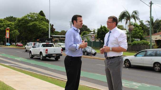 Coalition Senator Matt Canavan (left) and Toowoomba North MP Trevor Watts discuss the potential role of the Federal Government and the ACCC in dealing with petrol prices.