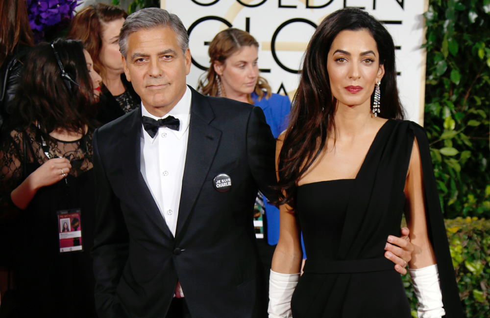 George Clooney and his new wife Amal at the Golden Globes.