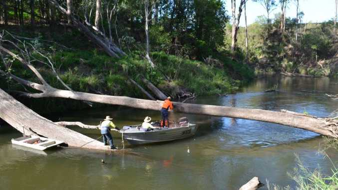 Troy Bellingham, Rob Scammell and Bill Scammell work on clearing debris from a section of the Brisbane Valley River between Lowood and Wivenhoe Dam.