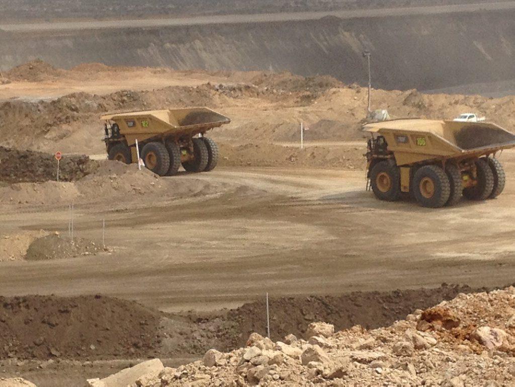 Haul trucks at BHP Billiton Mitsubishi Alliance's new Daunia mine in Central Queensland. PIC: OWEN JACQUES