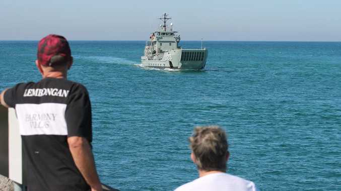 FINAL VISIT: HMAS Labuan arriving in Ballina on her last visit to the town in August last year. Photo Graham Broadhead / Ballina Shire Advocate