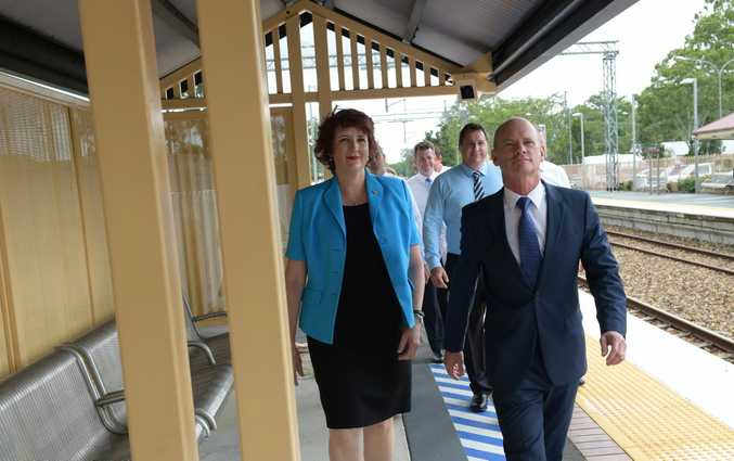 Campbell Newman with Queensland Speaker Fiona Simpson during a recent visit to the Sunshine Coast.