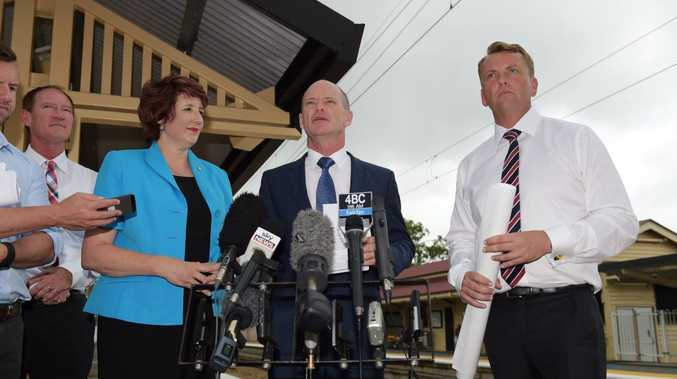 Queensland premier Campbell Newman and his LNP members for the Sunshine Coast call a press conference at the Landsborough railway station after pledging to duplicate the railway between Landsborough and Beerburrum. (L-R) Steve Dickson, Fiona Simpson, Campbell Newman and transport minister Scott Emerson. Photo: Brett Wortman / Sunshine Coast Daily