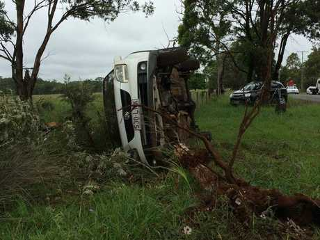 A single-vehicle rollover north of Toowoomba.