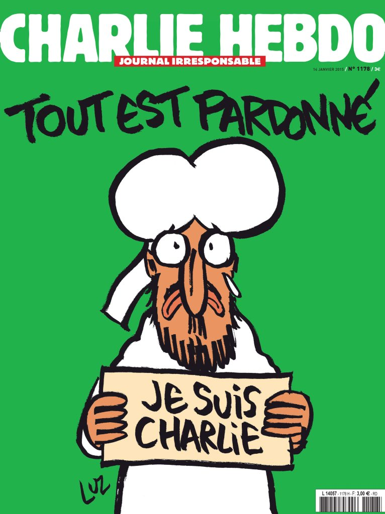 French newspaper Charlie Hebdo's new survivors cover of a crying Prophet Muhammad above the slogan