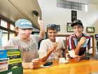 WINNING BET: Punters and mates Thomas Dougherty, Jake Elward and Jack Weatherstone at the Clocktower Hotel in Grafton yesterday. More of punters' money may soon be going to the racing industry. Photo: Leigh Jensen