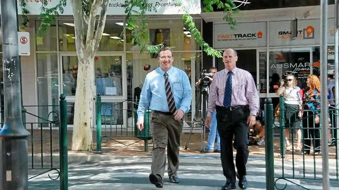 IN HAPPIER TIMES: Campbell Newman and departing Gympie MP David Gibson take a stroll down Mary St.