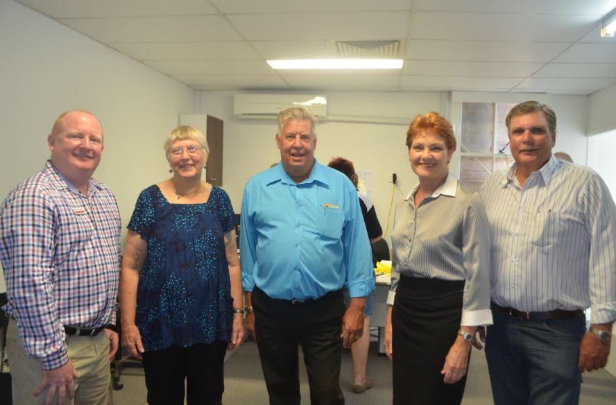 Five of the six Lockyer candidates attend the ballot in Gatton: Steve Leese (ALP), Clare Rudkin (Greens), Ian Rickuss (LNP), Pauline Hanson (One Nation) and David Neuendorf (KAP). Missing is Craig Gunnis (PUP).