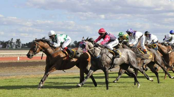 Tornadoes (left) and apprentice Rhiannon Payne defeat Ellie La Vie in last year's Dalby Newmarket at Bunya Park.