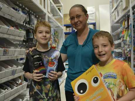Grabbing the last of their back to school supplies are Aiden and Jacob Brister with their mother Kylie Jeffs.