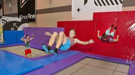 BOUNCING FUN: Showing off their skills are (from left) Khai De Kroon , Eli Slyderink and Ricky Moss in action at the Kloud9ine trampoline park.