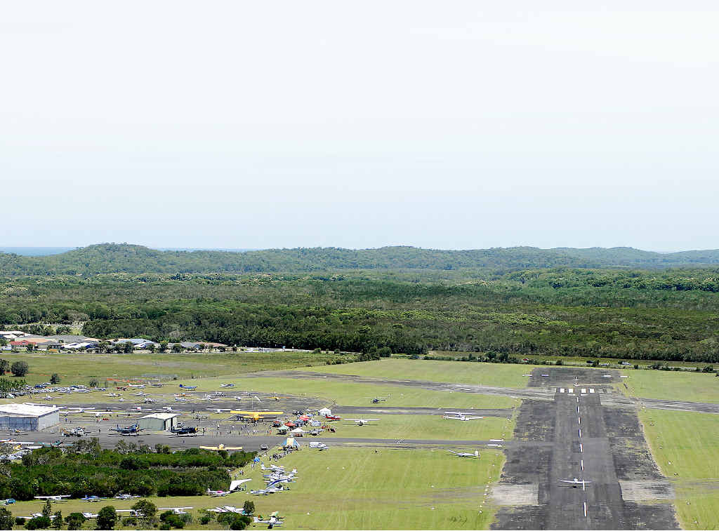 GOOD EVANS: An aerial view of the Evans Head Memorial Aerodrome during a Great Eastern Fly-in.