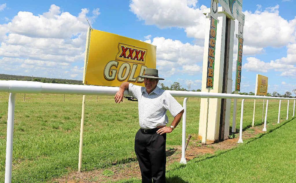 SAFER RUN: Lockyer Race Club president Ian Lyne with the new running rail at Burgess Park.