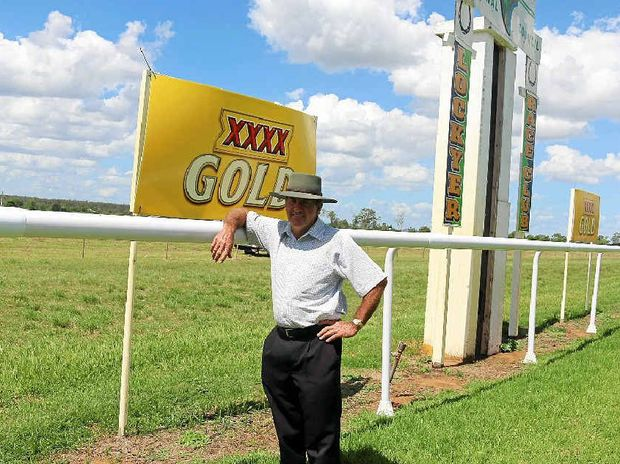 SAFER RUN: Lockyer Race Club president Ian Lyne with the new running rail at Burgess Park.