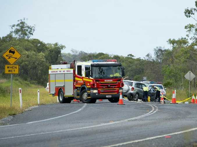 Emergency services attend the scene of a crash between a four-wheel-drive and a motorcycle on Gladstone Benaraby Rd.