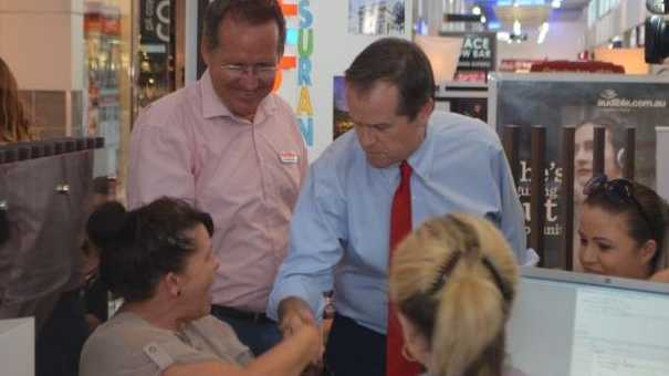 Ipswich West candidate Jim Madden and Federal opposition leader Bill Shorten catch up with shoppers and workers at Riverlink Shopping Centre.