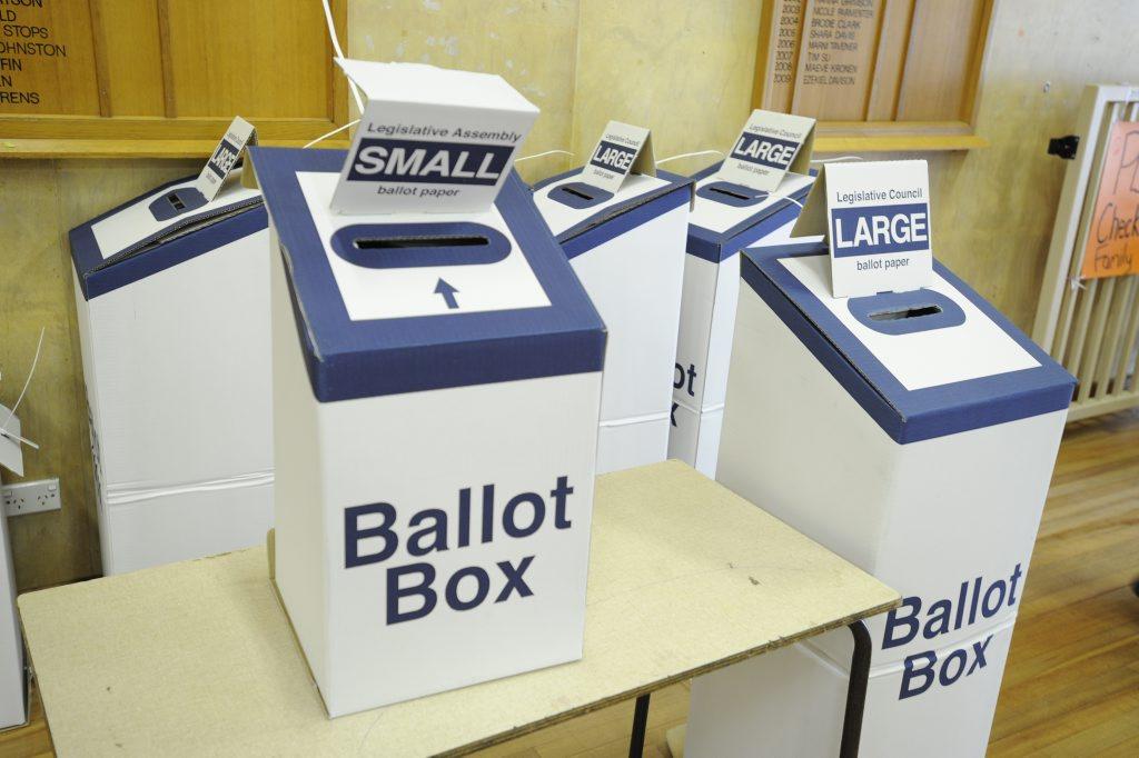 Ballot boxes at Lismore Public School