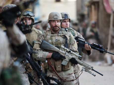 Bradley Cooper in a scene from American Sniper.