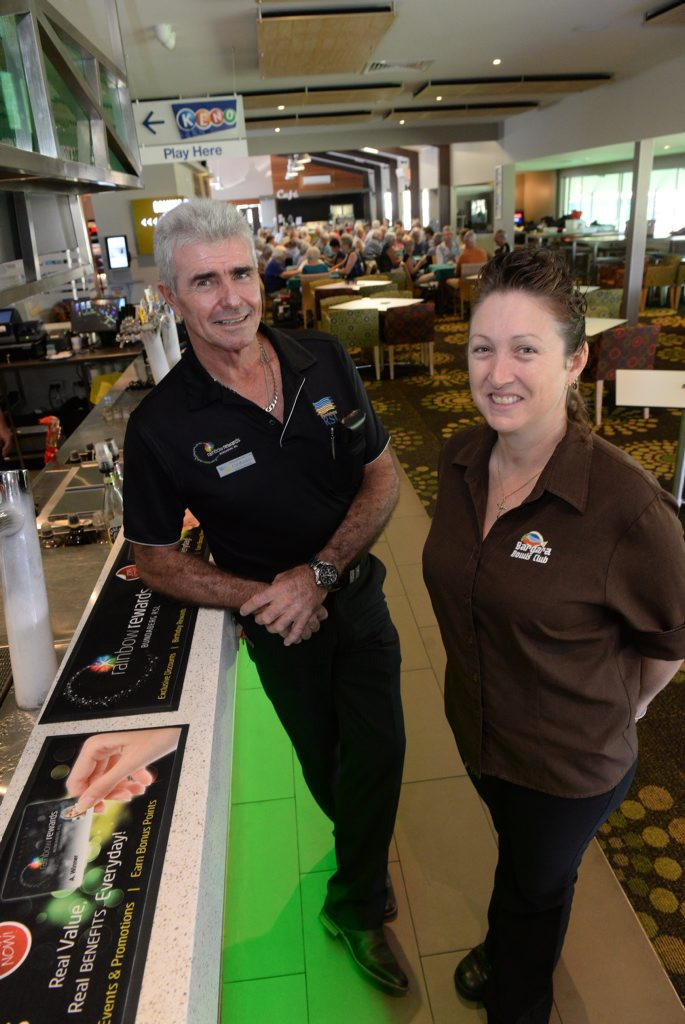 NEW VENTURE: RSL general manager Col Rankin and Bargara Bowls and Sports club senior duty manager Bobbi Smith inside the premises in Bargara. Photo: Mike Knott / NewsMail