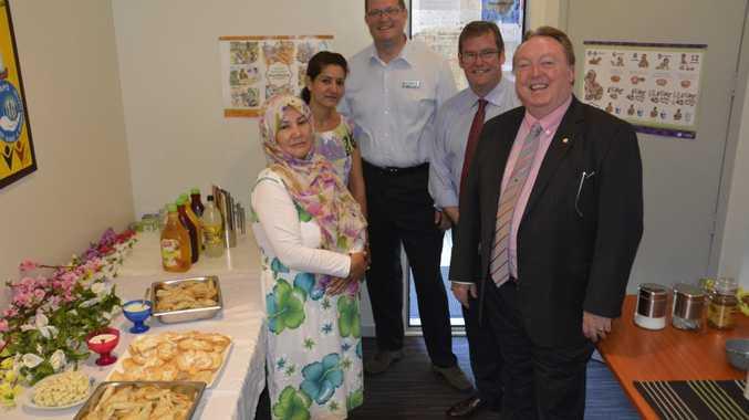 Enjoying Afghan cuisine at the Multicultural Development Association office are Tahereh Khavari, Shaima Sattar, Toowoomba North MP Trevor Watts, Toowoomba South MP John McVeigh and Minister Glen Elmes.