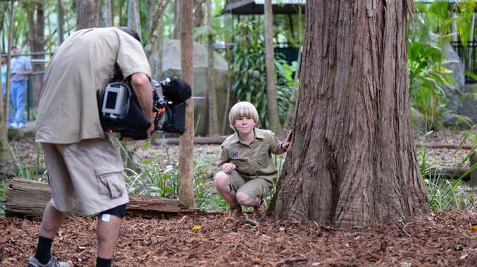 Robert Irwin filming the TV series Wild But True at Australia Zoo on the Sunshine Coast.