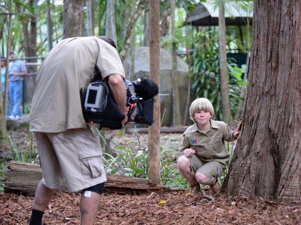 Robert Irwin filming the TV series Wild But True at Australia Zoo on the Sunshine Coast.